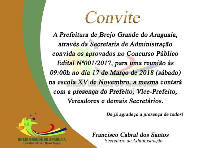 Prefeitura convoca aprovados no concurso de Brejo Grande do Araguaia