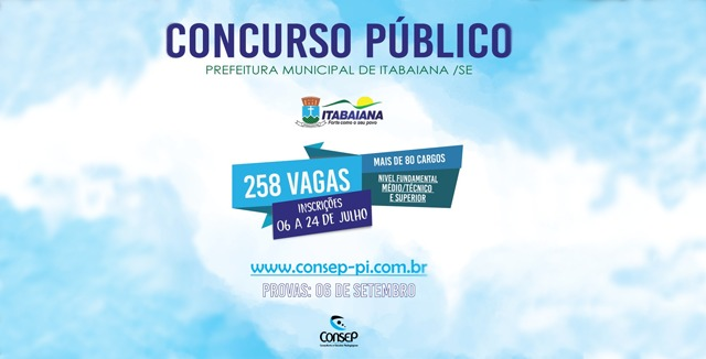 Inscrições do Concurso da Prefeitura Municipal de Itabaiana - SE