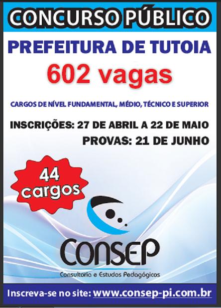 Inicio das inscrições de Tutoia – Maranhão, dia 27 de abril