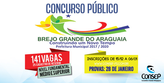 Inscrições abertas para concurso de Brejo Grande do Araguaia/PA