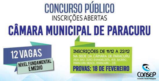 Edital do Concurso da Câmara Municipal de Paracuru